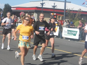 Victoria Marathon - about to cross the line
